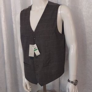 Perry Ellis slim fit stretch gray vest Mens New L